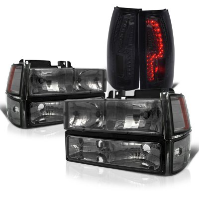 Chevy 1500 Pickup 1988-1993 Smoked Headlights and Custom LED Tail Lights