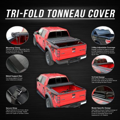 Dodge Ram 2009-2018 Standard Bed Soft Tri Fold Tonneau Cover