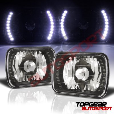 1988 Chevy 1500 Pickup White LED Black Chrome Sealed Beam Headlight Conversion