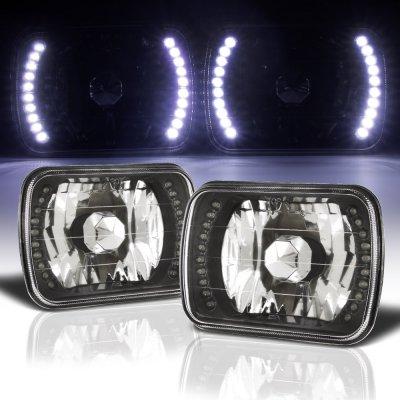 Chevy Suburban 1980-1999 White LED Black Chrome Sealed Beam Headlight Conversion
