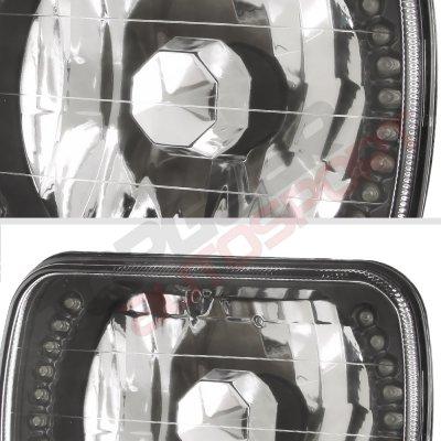 Chevy Tahoe 1995-1999 White LED Black Chrome Sealed Beam Headlight Conversion