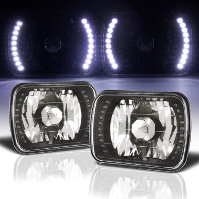 Dodge Ram 250 1981-1993 White LED Black Chrome Sealed Beam Headlight Conversion