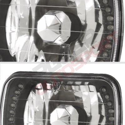 GMC Sierra 1988-1998 White LED Black Chrome Sealed Beam Headlight Conversion