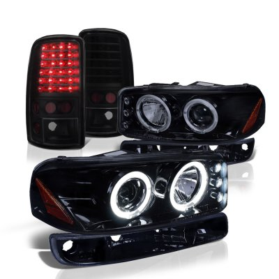 GMC Yukon 2000-2006 Black Smoked Halo Projector Headlights and LED Tail Lights