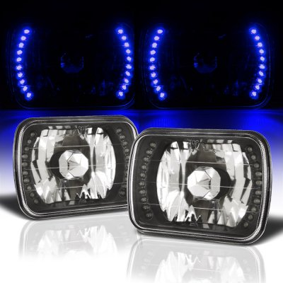 Chevy 1500 Pickup 1988-1998 Blue LED Black Chrome Sealed Beam Headlight Conversion