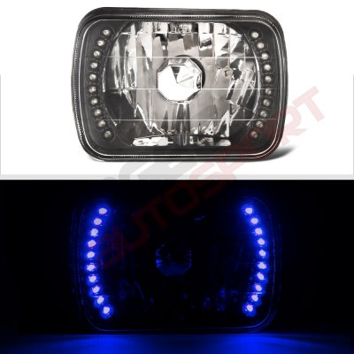 Chevy C10 Pickup 1980-1987 Blue LED Black Chrome Sealed Beam Headlight Conversion