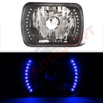 Dodge Ram 350 1981-1993 Blue LED Black Chrome Sealed Beam Headlight Conversion