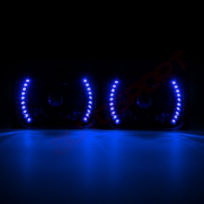 Jeep Wrangler 1987-1995 Blue LED Black Sealed Beam Headlight Conversion