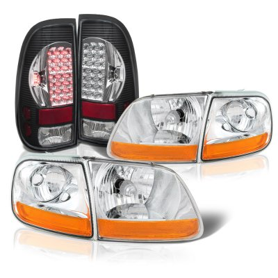 Ford F150 1997-2003 Harley Headlights Black Chrome LED Tail Lights