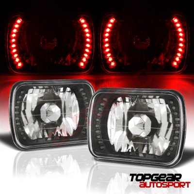 1986 Hyundai Excel Red LED Black Chrome Sealed Beam Headlight Conversion