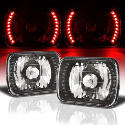 Buick Reatta 1988-1991 Red LED Black Chrome Sealed Beam Headlight Conversion