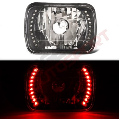 Chevy Tahoe 1995-1999 Red LED Black Chrome Sealed Beam Headlight Conversion