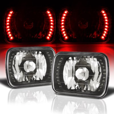 Ford Econoline Van 1979-1995 Red LED Black Chrome Sealed Beam Headlight Conversion
