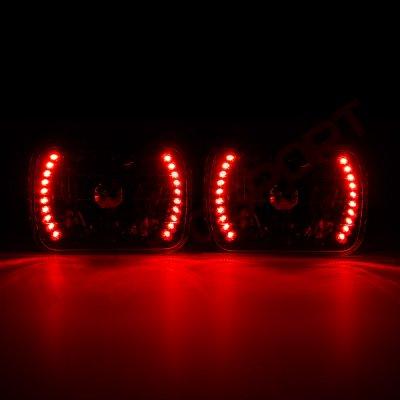 GMC Safari 1986-2004 Red LED Black Chrome Sealed Beam Headlight Conversion