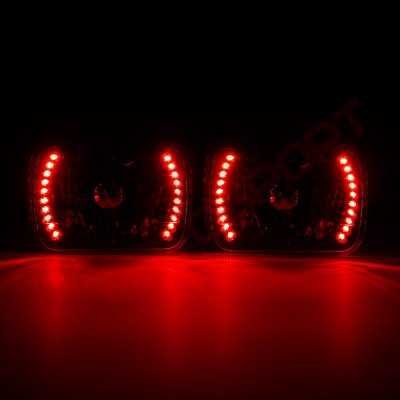 Nissan 240SX 1989-1994 Red LED Black Sealed Beam Headlight Conversion