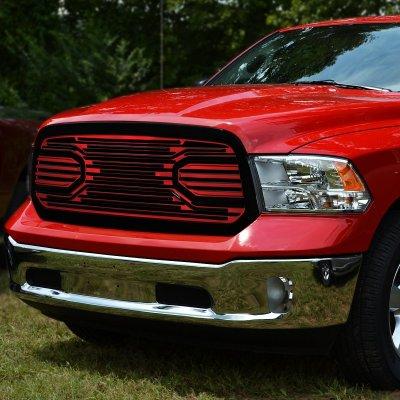 Dodge Ram 1500 2013 2018 Black Red Custom Grille A135yi5i259