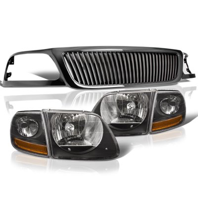 Ford F150 1999-2003 Black Vertical Grille Harley Style Headlights