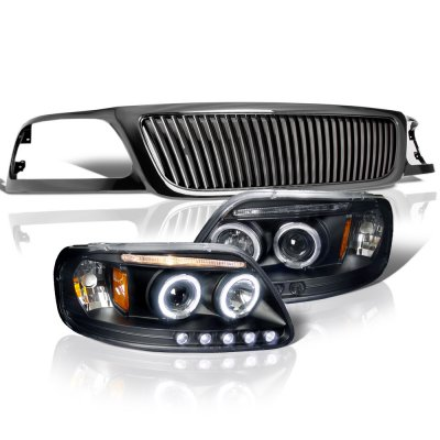 Ford Expedition 1999-2002 Black Vertical Grille Halo Projector Headlights LED
