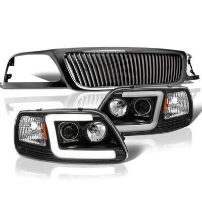Ford F150 1999-2003 Black Vertical Grille Tube DRL Projector Headlights