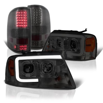 Ford F150 2004-2008 Smoked Tube DRL Projector Headlights LED Tail Lights