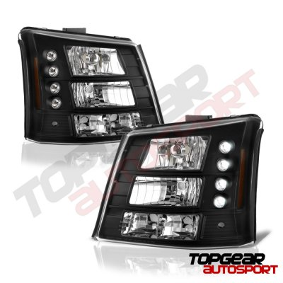 Chevy Silverado 2500 2003-2004 Black Headlights and Bumper Lights Conversion Set