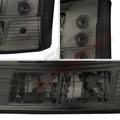 Chevy Silverado 2500HD 2003-2006 Smoked Headlights and Bumper Lights Conversion Set