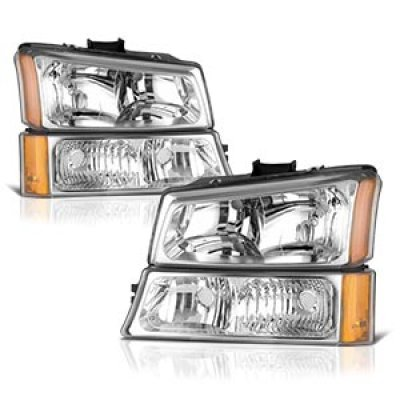 Chevy Silverado 2500HD 2003-2006 Clear Euro Headlights and Bumper Lights