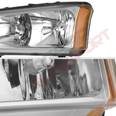 Chevy Silverado 2500HD 2003-2006 Clear Euro Headlights and LED Bumper Lights