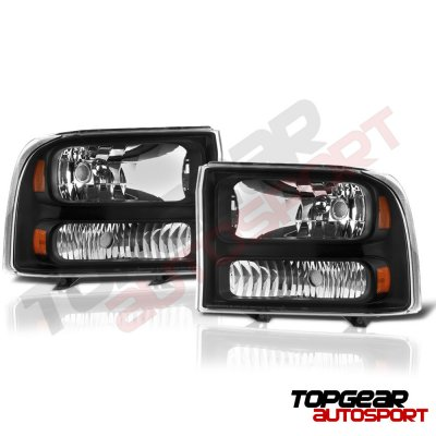 Ford Excursion 1999-2004 Black Headlights