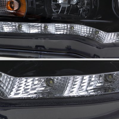Mitsubishi Lancer 2008-2015 Smoked Projector Headlights LED DRL