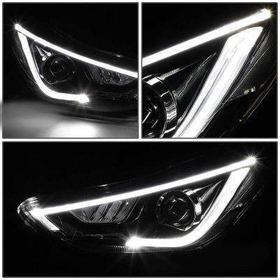 Hyundai Elantra Sedan 2011-2013 Black LED DRL Projector Headlights