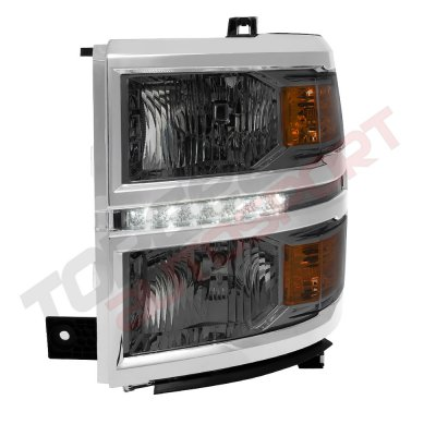 Chevy Silverado 1500 2014-2015 Smoked Headlights LED DRL