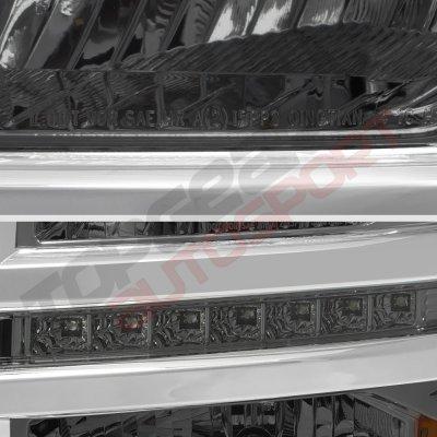 Chevy Silverado 1500 2014-2015 Smoked Headlights LED DRL