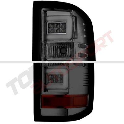Chevy Silverado 1500 2014-2015 Smoked DRL Projector Headlights LED Tail Lights Light Bar