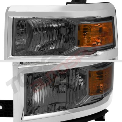 Chevy Silverado 1500 2014-2015 Smoked DRL Projector Headlights LED Tail Lights Light Bar