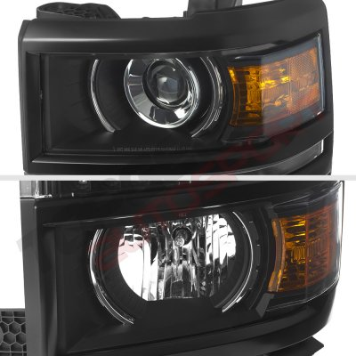 Chevy Silverado 1500 2014-2015 Black Projector Headlights LED DRL