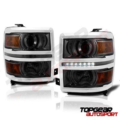 Chevy Silverado 2014-2015 Smoked Projector Headlights LED DRL