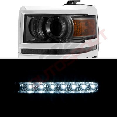 Chevy Silverado 2014-2015 Smoked Projector Headlights LED DRL