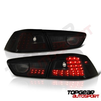 Mitsubishi Lancer 2008-2015 LED Tail Lights Black Smoked