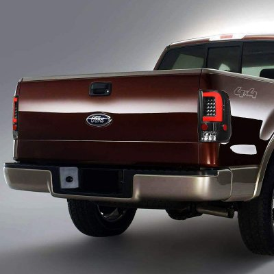 Ford F150 2004-2008 Black Red C-Tube LED Tail Lights