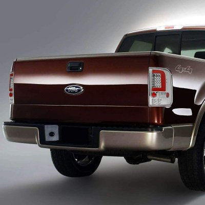 Ford F150 2004-2008 Clear Red C-Tube LED Tail Lights