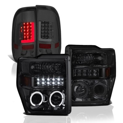 Ford F250 Super Duty 2008-2010 Smoked Halo Projector Headlights Tube LED Tail Lights