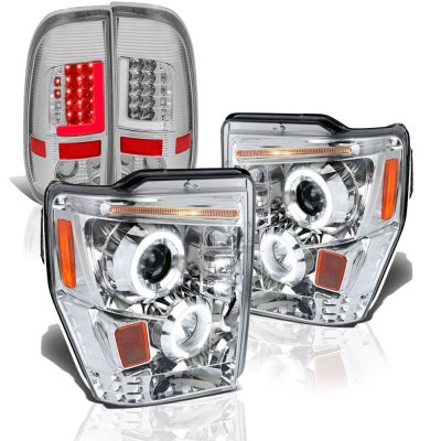 Ford F250 Super Duty 2008-2010 Clear Halo Projector Headlights Tube LED Tail Lights