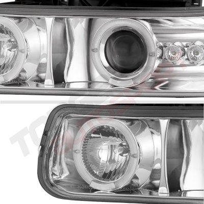 Chevy Suburban 2000-2006 Projector Headlights Chrome Halo LED