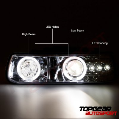 Chevy Suburban 2000-2006 Projector Headlights Chrome Halo LED