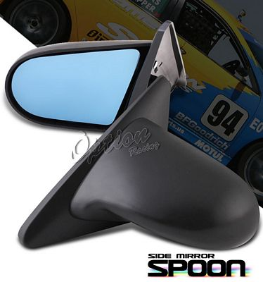 Honda Civic Coupe 1996-2000 Black Spoon Style Blue Len Manual Side Mirror