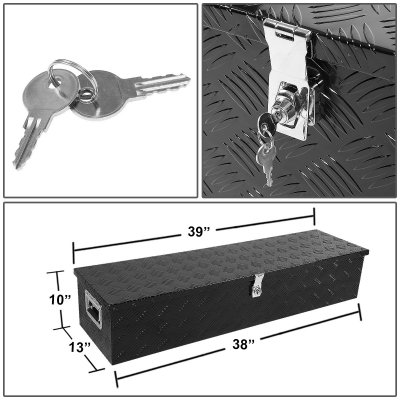 Jeep Wrangler JK 2007-2018 Black Aluminum Truck Tool Box 39 Inches Key Lock