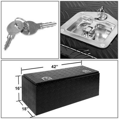 Jeep Wrangler JK 2007-2018 Black Aluminum Truck Tool Box 42 Inches Key Lock
