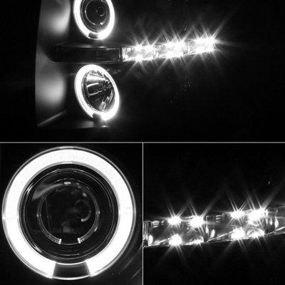 Chevy Silverado 2007-2013 Black Smoked Halo Projector Headlights