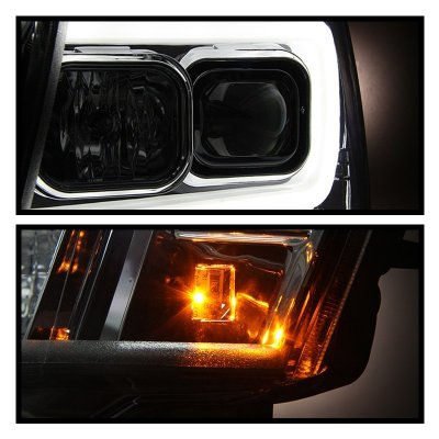 Chevy Suburban 2007-2014 Smoked LED Tube DRL Projector Headlights